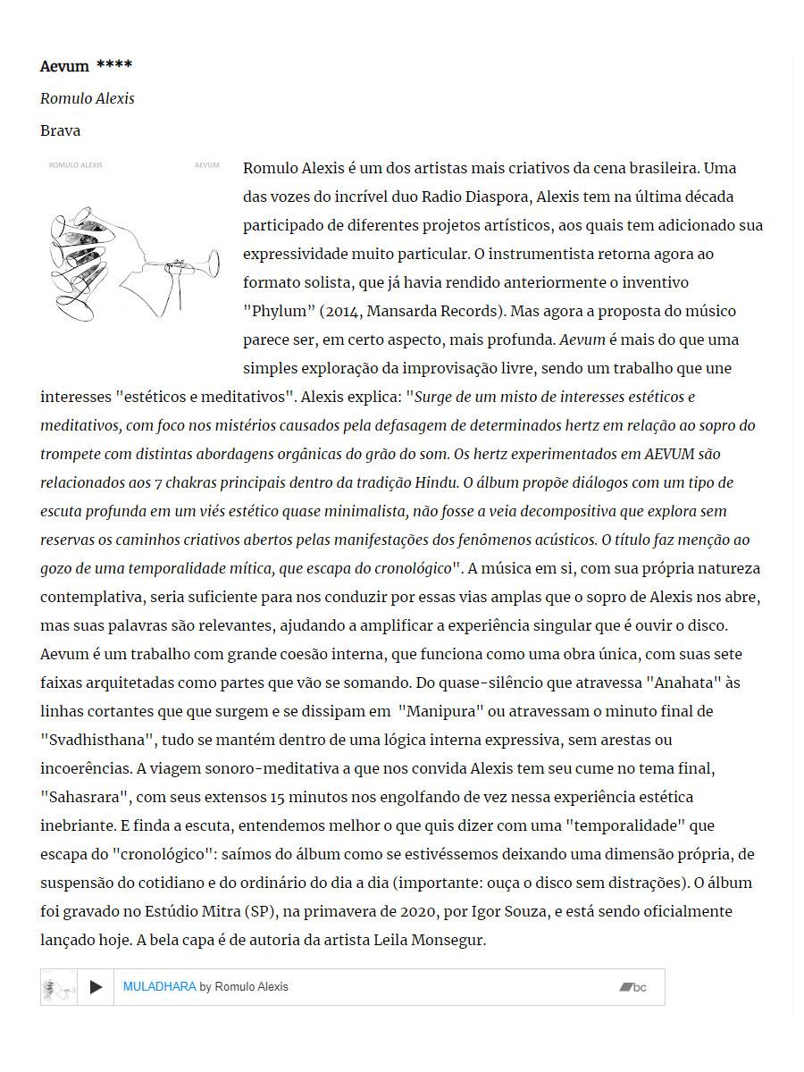 [imprensa] Romulo Alexis 'AEVUM' / FreeForm, FreeJazz