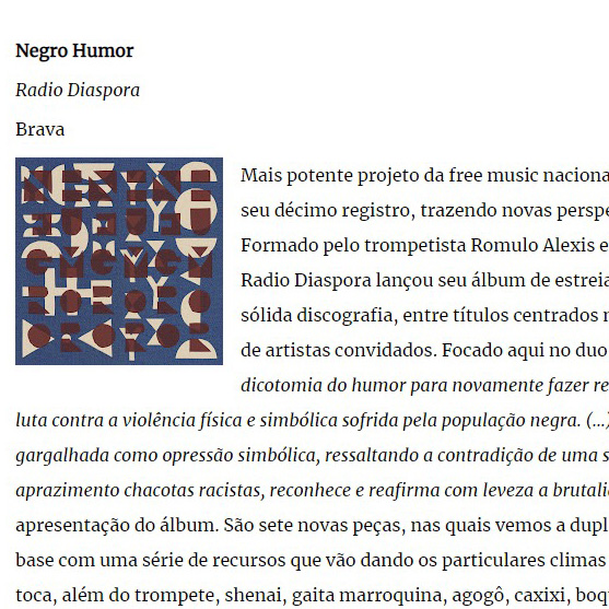 [imprensa] 'Negro Humor', de Radio Diaspora / FreeForm, FreeJazz
